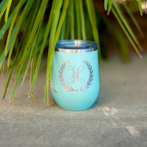 Initial Wreath Stainless Steel Tumbler with Lid  Home & Garden > Kitchen & Dining > Tableware > Drinkware > Tumblers