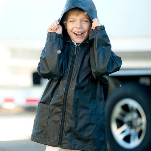 Personalized Childs Black Rain Jacket Size Large  Apparel & Accessories > Clothing > Outerwear > Rain Gear > Raincoats