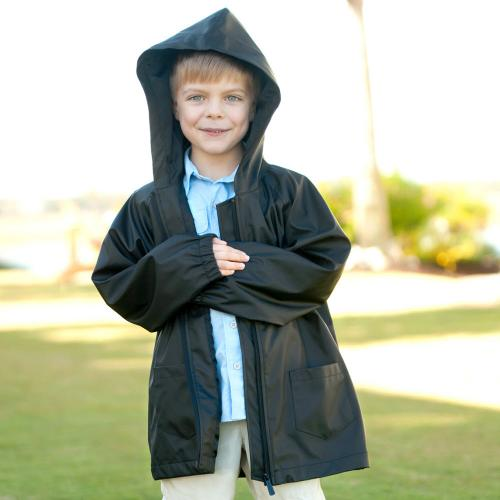 Personalized Childs Black Rain Jacket Size Small  Apparel & Accessories > Clothing > Outerwear > Rain Gear > Raincoats