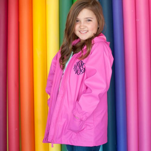 Personalized Childs Hot Pink Rain Jacket Size Small  Apparel & Accessories > Clothing > Outerwear > Rain Gear > Raincoats