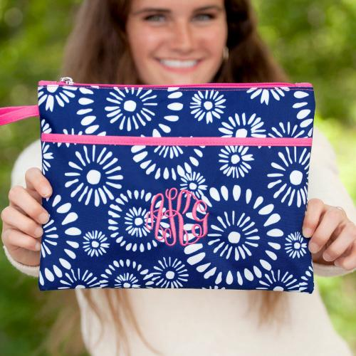 Personalized Navy Riley Zip Pouch Wristlet  Luggage & Bags > Luggage Accessories > Travel Pouches
