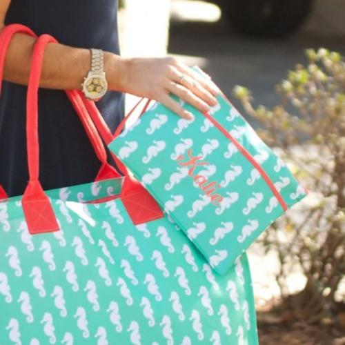 Personalized Mint Seahorse Zip Pouch Wristlet  Luggage & Bags > Luggage Accessories > Travel Pouches