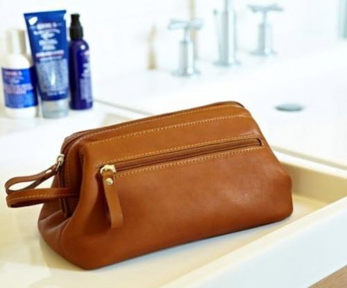 Mens Leather Framed Toiletry Travel Bag  Luggage & Bags > Toiletry Bags