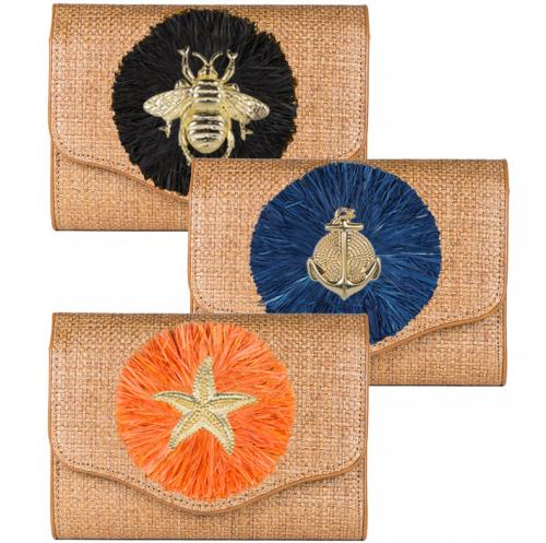 Lisi Lerch Sadie Clutch Raffia Round  Apparel & Accessories > Handbags > Clutches & Special Occasion Bags