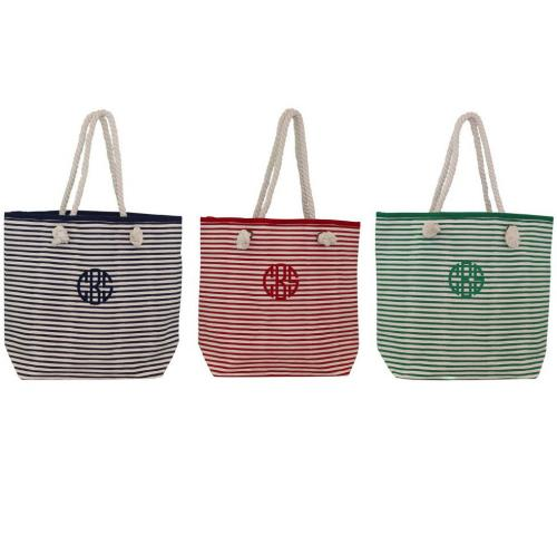 Monogrammed Stripe Canvas Knotted Rope Tote  Apparel & Accessories > Handbags > Tote Handbags