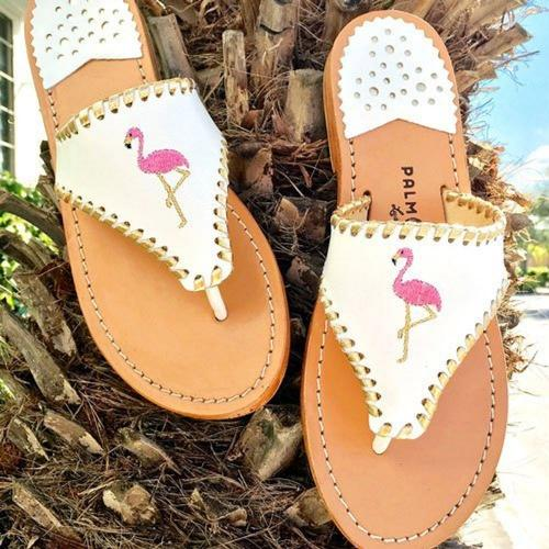 Palm Beach Classic Flamingo Sandals White with Gold  Apparel & Accessories > Shoes > Sandals > Thongs & Flip-Flops