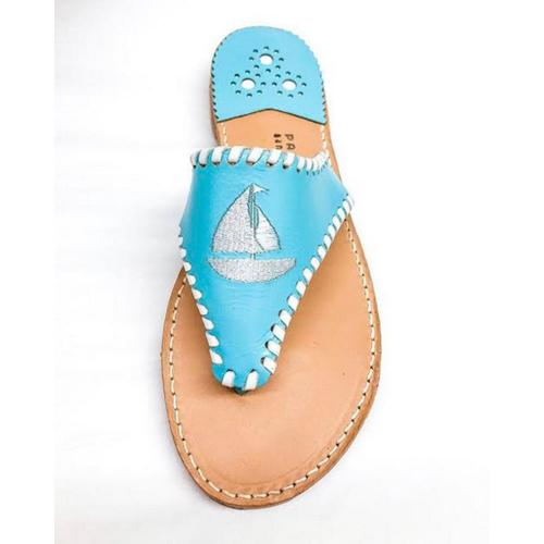 Palm Beach Classic Sailboat Sandals Carribean Blue with White  Apparel & Accessories > Shoes > Sandals > Thongs & Flip-Flops