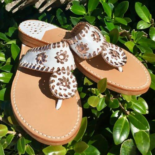 Palm Beach Sandals Classic White and Rose Gold  Apparel & Accessories > Shoes > Sandals > Thongs & Flip-Flops