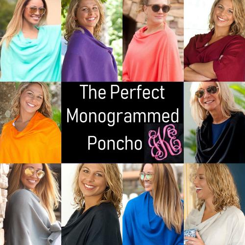 Monogrammed Soft Chelsea Pashmina Poncho  Apparel & Accessories > Clothing > Outerwear > Coats & Jackets > Capes & Ponchos