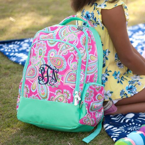 Monogrammed Lizzie Paisley Print Backpack  Luggage & Bags > Backpacks