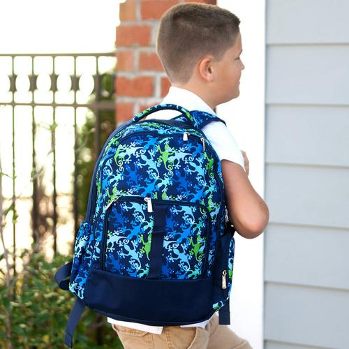 Monogrammed Gecko Print Backpack  Luggage & Bags > Backpacks