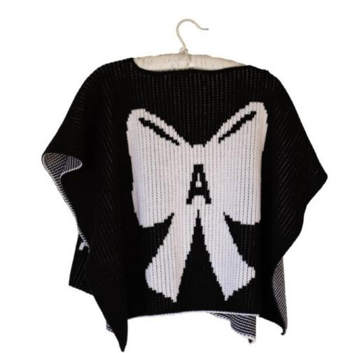Hand Knit Personalized Kids Poncho With Bow  Apparel & Accessories > Clothing Accessories > Baby & Toddler Clothing Accessories