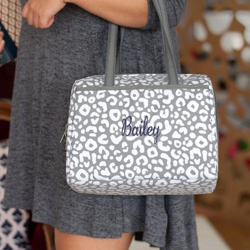 Monogrammed Smokey Leopard Lunch Tote  Home & Garden > Kitchen & Dining > Food & Beverage Carriers > Lunch Boxes & Totes