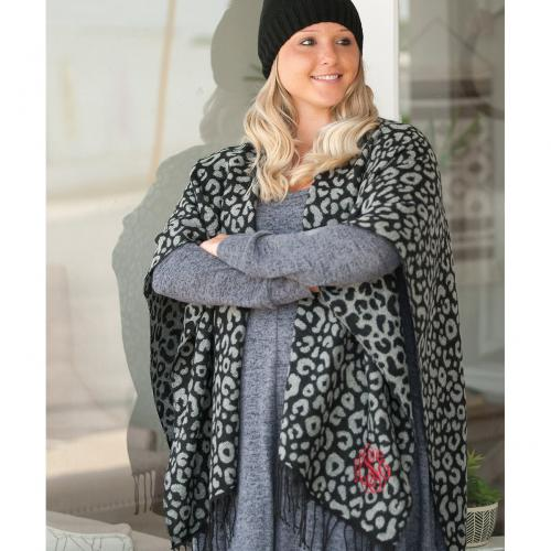 Monogrammed Black Leopard Kennedy Shawl  Apparel & Accessories > Clothing Accessories > Scarves & Shawls