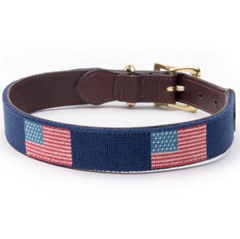 American Flag Needlepoint Dog Collar  Animals & Pet Supplies > Pet Supplies > Cat Supplies > Cat Collars & Harnesses