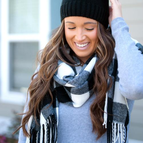Monogrammed Black Buffalo Check Wide Scarf  Apparel & Accessories > Clothing Accessories > Scarves & Shawls