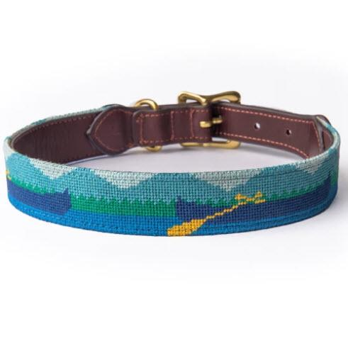 Mountains and Canoes Needlepoint Dog Collar  Animals & Pet Supplies > Pet Supplies > Cat Supplies > Cat Collars & Harnesses