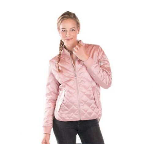 Monogrammed Pink Satin Flight Jacket  Apparel & Accessories > Clothing > Outerwear > Coats & Jackets