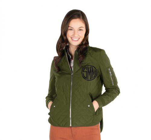 Monogrammed Quilted Flight Jacket Four Colors  Apparel & Accessories > Clothing > Outerwear > Coats & Jackets
