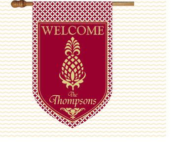 Monogrammed Pineapple in Argyle print House Flag Welcome Pineapple with Argyle Flag Home & Garden > Decor > Flags & Windsocks