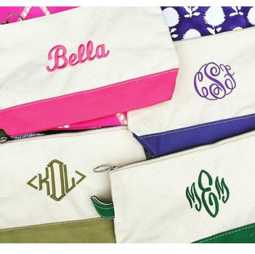 Monogrammed Canvas Makeup Bag  Luggage & Bags > Toiletry Bags