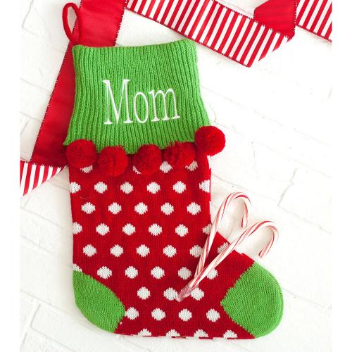 Personalized Red Dot Pom Pom Knit Stocking  Home & Garden > Decor > Seasonal & Holiday Decorations > Holiday Stockings