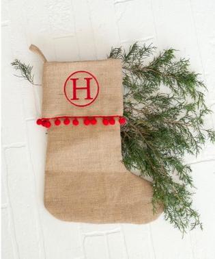 Personalized Red Pom Pom Burlap Stocking  Home & Garden > Decor > Seasonal & Holiday Decorations > Holiday Stockings