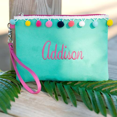 Personalized Mint Pom Pom Wristlet Pouch  Apparel & Accessories > Handbags > Wristlets