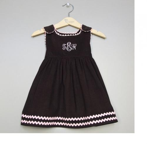 Monogrammed Girl's Corduroy Dress Brown with Light Pink Trim  Apparel & Accessories > Clothing > Baby & Toddler Clothing > Baby & Toddler Dresses