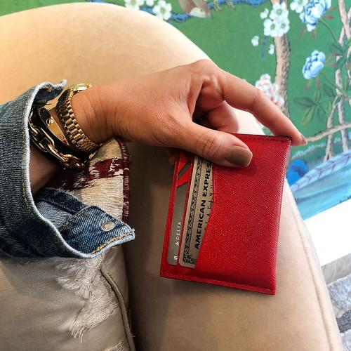 Boulevard Carter Leather Card Holder Monogrammed  Apparel & Accessories > Handbags, Wallets & Cases