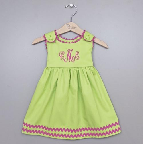 Monogrammed Girl's Cotton Pique Dress Green with Hot Pink Trim  Apparel & Accessories > Clothing > Baby & Toddler Clothing > Baby & Toddler Dresses