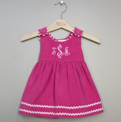 Monogrammed Girl's Dress Corduroy Hot pink Trimmed In Light Pink  Apparel & Accessories > Clothing > Baby & Toddler Clothing > Baby & Toddler Dresses