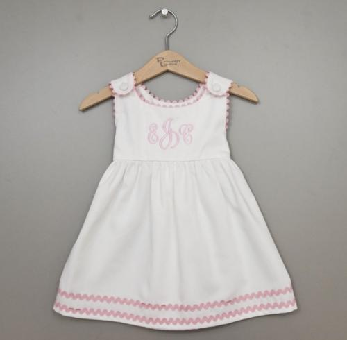 Monogrammed Cotton Pique Dress White with Light Pink Trim  Apparel & Accessories > Clothing > Baby & Toddler Clothing > Baby & Toddler Dresses