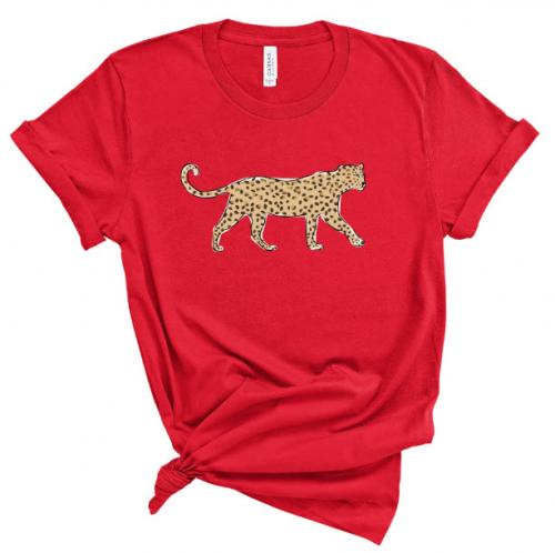 Clairebella Leopard Prowl T Shirt Red  Apparel & Accessories > Clothing > Shirts & Tops > T-Shirts