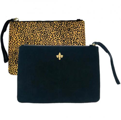 Lisi Lerch Elise Clutch Black & Cheetah  Apparel & Accessories > Handbags > Clutches & Special Occasion Bags