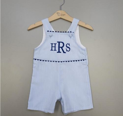 Monogrammed Boys Blue Striped Romper   Apparel & Accessories > Clothing > Baby & Toddler Clothing > Baby & Toddler Outfits