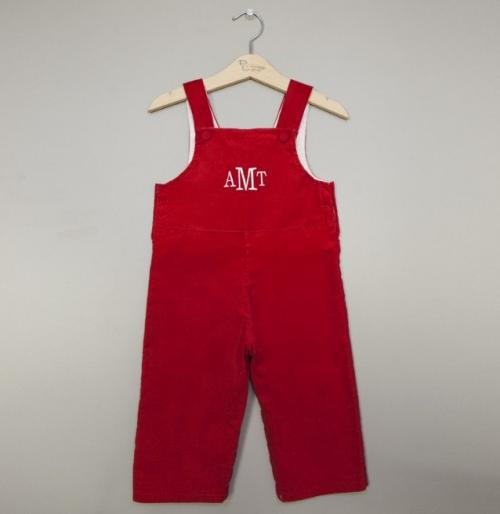 Monogrammed Boy's Corduroy John John Red  Apparel & Accessories > Clothing > Baby & Toddler Clothing > Baby & Toddler Outfits