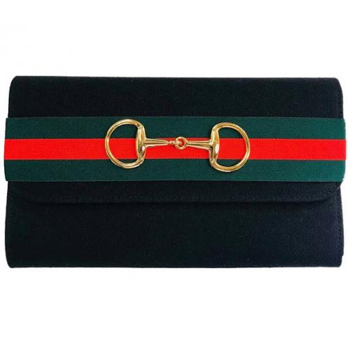 Lisi Lerch Avery Green and Red Striped Band Clutch Lisi Lerch Avery Green and Red Striped Band Clutch Apparel & Accessories > Handbags > Clutches & Special Occasion Bags