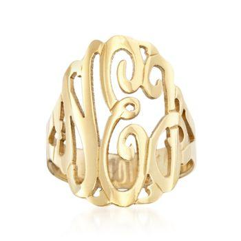 Monogrammed Ring- Hand Cut design in  14 karat gold  Apparel & Accessories > Jewelry > Rings
