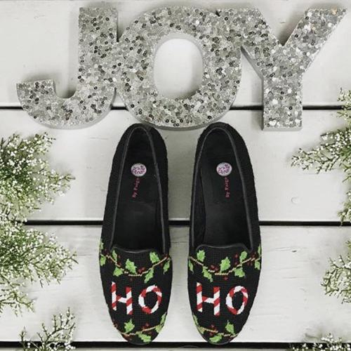 Needlepoint Christmas Loafers Hand Stitched By Paige  Apparel & Accessories > Shoes > Loafers