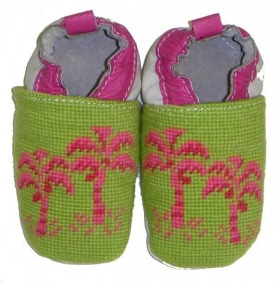 By Paige Child's Needlepoint Preppy Palm Tree Booties  Apparel & Accessories > Shoes > Baby & Toddler Shoes