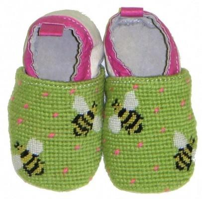 By Paige Baby Needlepoint Bumble Bee Booties   Apparel & Accessories > Shoes > Baby & Toddler Shoes