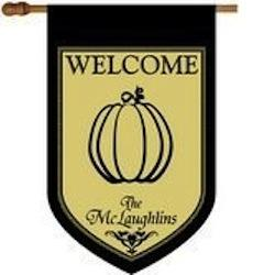 Monogrammed Pumpkin House Flag Monogrammed Welcome Pumpkin Flad Home & Garden > Decor > Flags & Windsocks