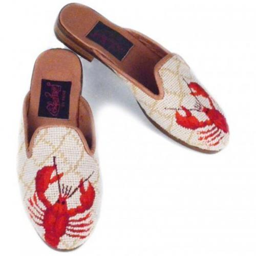 By Paige Ladies Red Lobster Needlepoint Mules  Apparel & Accessories > Shoes > Clogs & Mules