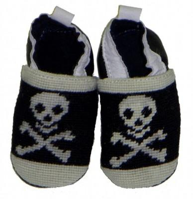 By Paige Needlepoint Jolly Roger Booties   Apparel & Accessories > Shoes > Baby & Toddler Shoes