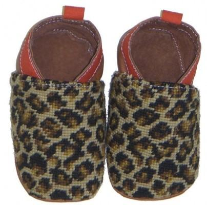 By Paige Needlepoint Leopard Baby Booties   Apparel & Accessories > Shoes > Baby & Toddler Shoes