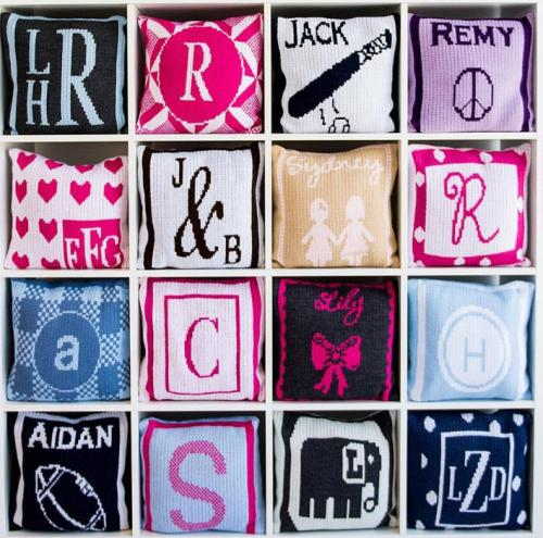 Monogrammed Knit Square Pillow From Butterscotch Blankets  Home & Garden > Decor > Throw Pillows