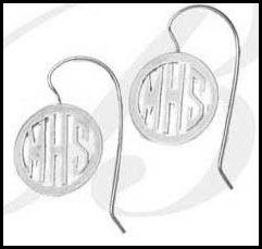 Monogrammed Block Circle earrings on an attached french wire  Apparel & Accessories > Jewelry > Earrings