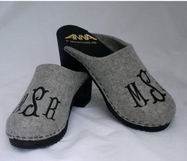 Monogrammed High Heel Wooden Clogs  Apparel & Accessories > Shoes > Clogs & Mules