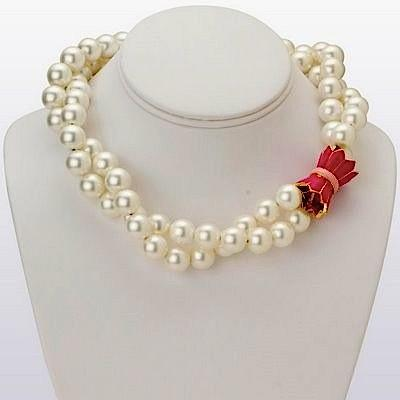 Double Strand Shell Pearl Necklace with Pink Enamel 18K Gold Filled Tulip Clasp   Apparel & Accessories > Jewelry > Necklaces